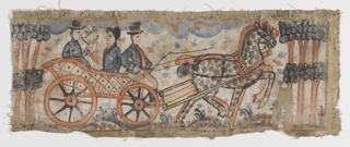 Three figures in decorated wagon being pulled by large spotted horse.