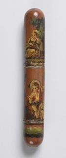 Lacquered wood case, painted in pastoral scenes and human figures, lined with shell; long compartment one end, short compartment other end
