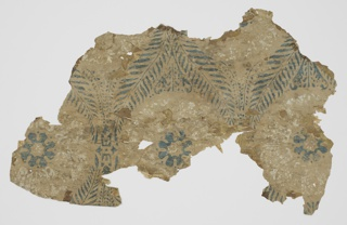Three fragments: a) newspaper, lining; b) brownish paper; c) blue and white medallions, transfer of B's pattern on verso.