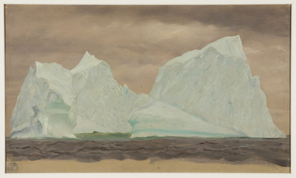 Drawing, Icebergs Under Cloudy Skies