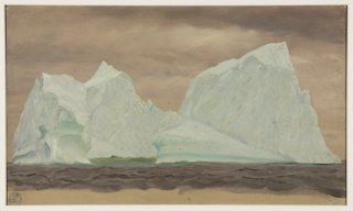 Drawing, Floating Icebergs Under Cloudy Skies