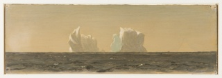 Two icebergs, partly in shadow with sunlight glinting from the peaks, are seen from a distance across a dark brownish body of water.