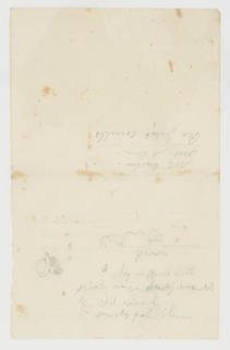 """Sketchbook page with sketches and inscriptions. At bottom half, a floating iceberg with the word """"blue"""" inscribed over the form and """"purple"""" inscribed at the water. At lower left, a man's head shown in profile, wearing a hat. Inscriptions throughout."""
