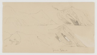 Four sketches of a mountainous seashore.