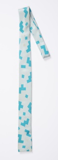 Pale blue necktie with a pattern of turquoise geometric zigzags, squares and L-shapes.
