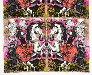 Textile is printed with 5 repeats of a mirror-image panel showing a woman in a red dress and plumed red hat facing left (in the original) and riding a white horse, rearing on its hind legs. A stylized background in shades of rose, chartreuse and white suggests a cloud of dust behind the horse and rider. Picasso has dated the drawing 11-3-59 in a black space at the top. The mirror image has the date obviously backward. Individual panels are 24 inches wide by 29 inches long. There are a total of 10 panels.
