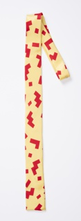 Yellow necktie with a pattern of red geometric zigzags, squares and L-shapes.