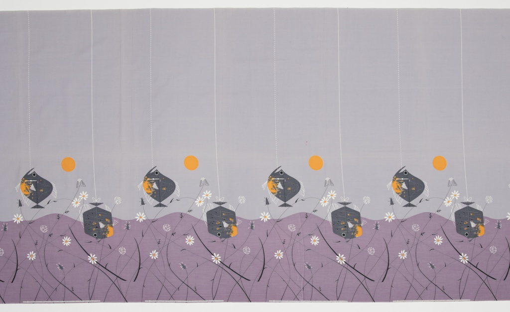 """Yard goods; a Signature Fabric, """"On the Hook"""" designed by Charles Harper of Associated American Artists, 1953. Dark gray and orange fish swim up and down on a purple and light gray ground."""