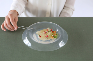 A series of white and semi-transparent plates, shown from above, bend and conform to the weight of delicate, brightly colored foods.
