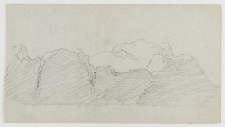 Seascape with large floating iceberg, the front shaded in shadow. Verso: sky with clouds rising over a range of hills.