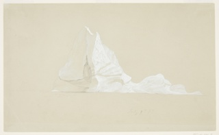 An iceberg peak with highlights in white gouache, a horizon line indicated below.