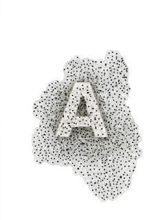 The letter A is submerged in a transparent blob of frog eggs.