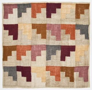 Small, square weaving with a grid of stepped motifs alternating off-white with a palette of soft shades: violet, blue-green, brown, terra cotta, and yellow.
