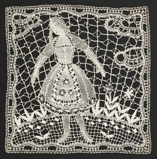 Two round doilies: one with a fanciful bird, the other with a stylized palm tree. Square lace inserts for a curtain contain a female figure in traditional dress, the other has a male figure with outstretched arms and an owl.
