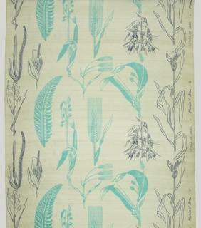 Length of printed silk with pale celadon green ground, printed with ferns and grasses in medium blue-green and gray.