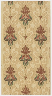 Art nouveau-style design, with stylized tulip and foliage forming a repeating motif. Floral motifs are separated by scrolling foliate framework. Printed in brown, deep red, and green on tan ground.