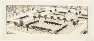 Drawing, Vue d'une Roseraie (View of a Rose Garden)