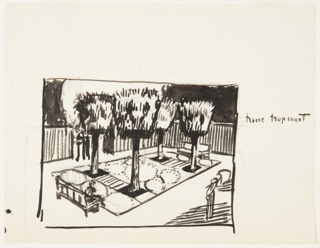 Drawing depicts a small park with four trees and two benches.