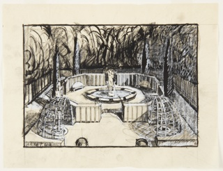 Drawing, Design for Garden Featuring Octagonal Fountain with Sculpture, Flanked by Hemispherical Trellises