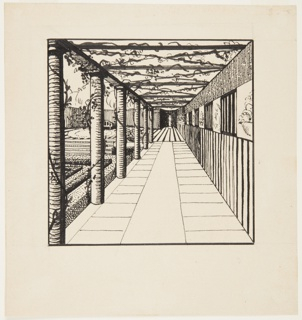 Drawing, Galerie de Droite du Jardin Clos (Gallery to the right of an Enclosed Garden)