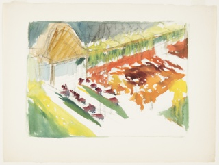 Drawing, Study for a Garden with Gazebo