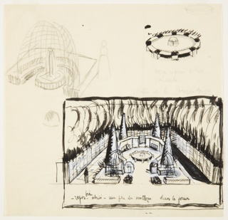 Drawing, Three Studies: Ornamental Enclosed Garden with Four Evergreen Trees Around a Fountain; Circular Fountain; Trellis Niche and Fountain
