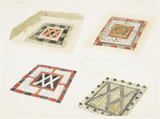 Drawing, Four Studies of Garden Parterres