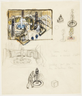 Drawing, Studies for Ornamental Garden with Fountain and Sculpture
