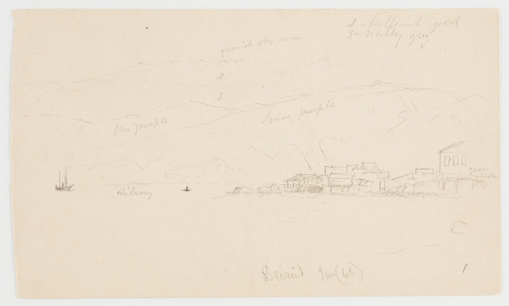 Rector: View of a harbor and mountains; Center, ships and a row boat; Verso: Sketch of a landscape with the view of a valley.