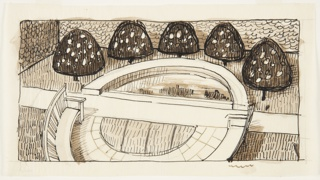 Drawing, Banc devant un Bassin (Bench before a Pond)