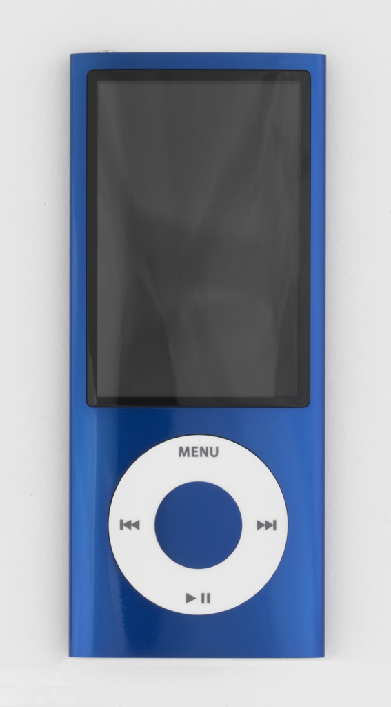 Vertical rectangular form of blue aluminum with large rectangular screen above circular white click wheel with control symbols.