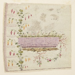 A plant grows from the bottom edge, the left side boughs of which branch into the intervals between the button holes. Part of it is covered by an oblong stone trough from which plants grow and a flower festoons hangs. A laurel garland is beneath the trough. Traced flower boughs are shown in the field over it.