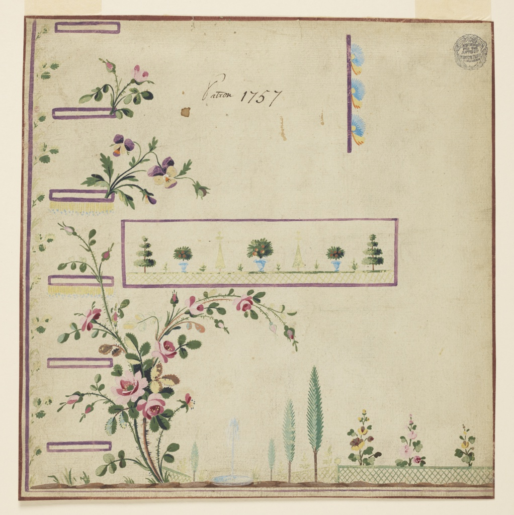 Rectangular corner. Lilac edges; six buttonholes are shown. A vew of a garden with a fountin is shown at the bottom; a rose bush grows high up, at left. A trellis railing of a garden, with vases standing upon it, decorates the pocket. Leaf boughs grow from the rising edge. Top of a blossom and of a leaf growing from a lilac edge.  Verso: blotter of a black crayon sketch of a lady's dress.