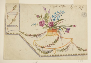 The lateral side is higher than the strip with the buttonholes, two of which are shown, disposed in a strip. Lilac edges. A row of seeds upon those of the waistcoat. A flower vase, shaped in the outlines of the neck of a vase with three rings at the bottom, is shown in the corner. Leaf boughs are wound around it, passing through the rings. Verso, in graphite: outlines of a pocket; slight sketch of the decoration beneath it.