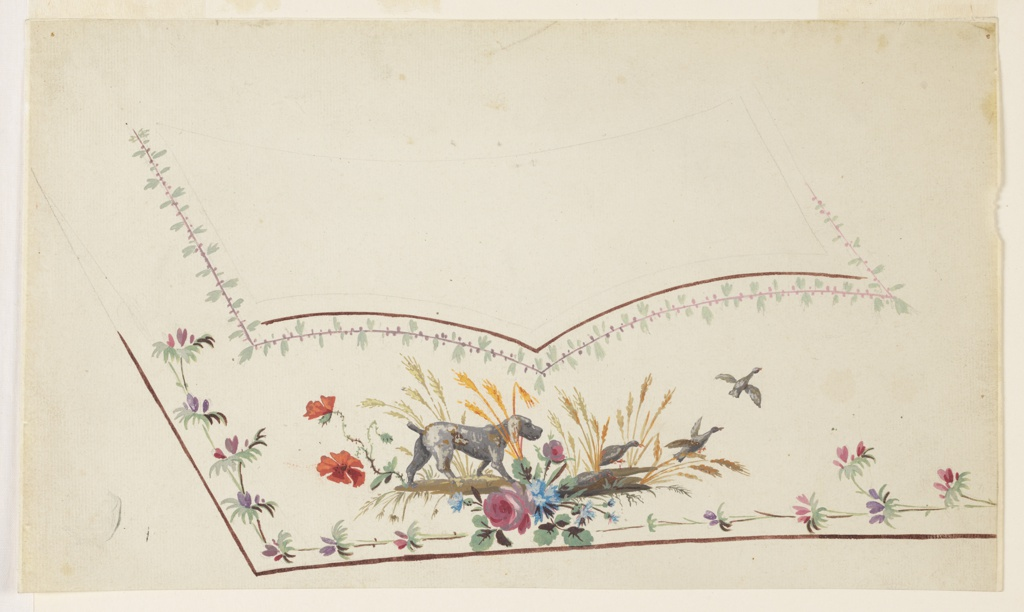Design for the embroidery on a man's waistcoat or gilet. A grey dog and three grey geese appear below a pocket flap, surrounded by stalks of wheat. The dog and geese are separated by a bunch of pink and blue flowers. Two red flowers appear to the left of the dog. The bottom edges are bordered with purple and pink flowers, and small green leaves and purple dots line the edge of the flap.