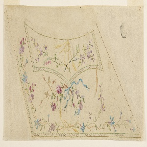 Strips of scallops are shown along the lateral edges of the flap of the pocket and the edges of the waistcoat. Flower bunches stick in a slope of ears of grain in the flap. A bunch of flowers fastened by a ribbon is shown beneath the pocket, a flower garland in the remaining field.