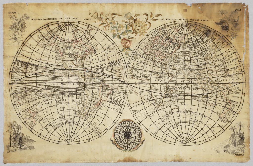 "Map of the world showing the two hemispheres, titled ""Western Hemisphere or the New World"" and ""Eastern Hemisphere or the Old World."" A compass at center bottom, spray of flowers center top, and figures labelled ""Europe,"" ""Asia,"" ""America"" and ""Africa"" in each of the corners. The maps have been filled in great detail and the routes of the explorers have been marked on them."