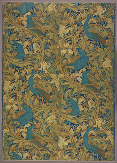 "a) Vertical rectangle, two widths joined, giving two and one-half repeats. Arabesque of large acanthus rinceaux, tulips and wiry scrolls, with perching peacocks whose tails hang downward; b) Same design as ""a"" but one width and incomplete repeat; in green, blue and brown on dark blue ground."