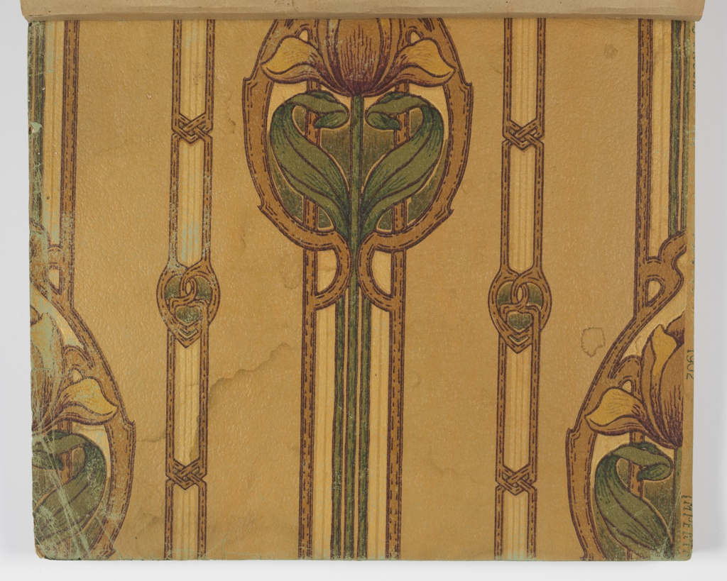 Wide range of samples including ingrain and oatmeal papers, cut out borders, die-cut and embossed borders, floral patterns, and medallion stripe patterns.