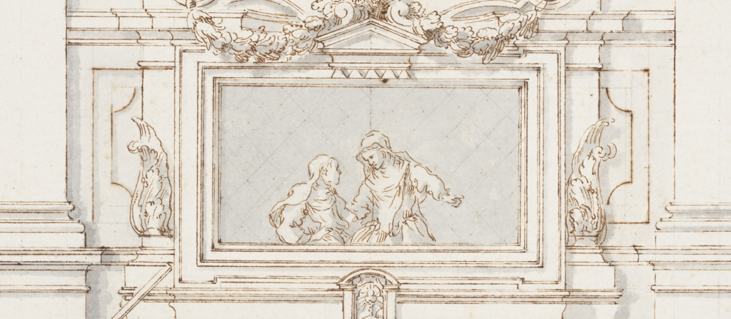 Centrally placed elevation of an altar showing a painting of a penitent saint in the wilderness. The heads of two cherubs can be seen above in a circular frame. The altarpiece is flanked by Corinthian topped pilasters. A group of three figures, one of which holds a lance, appears at the left of the altar. At right, one figure carries candlesticks. Below the elevation, a sheet of paper containing a plan view is drawn in trompe-l'oeil and edged with red. The edges appear rolled, and an elaborate frame is shown at right, behind the sheet.