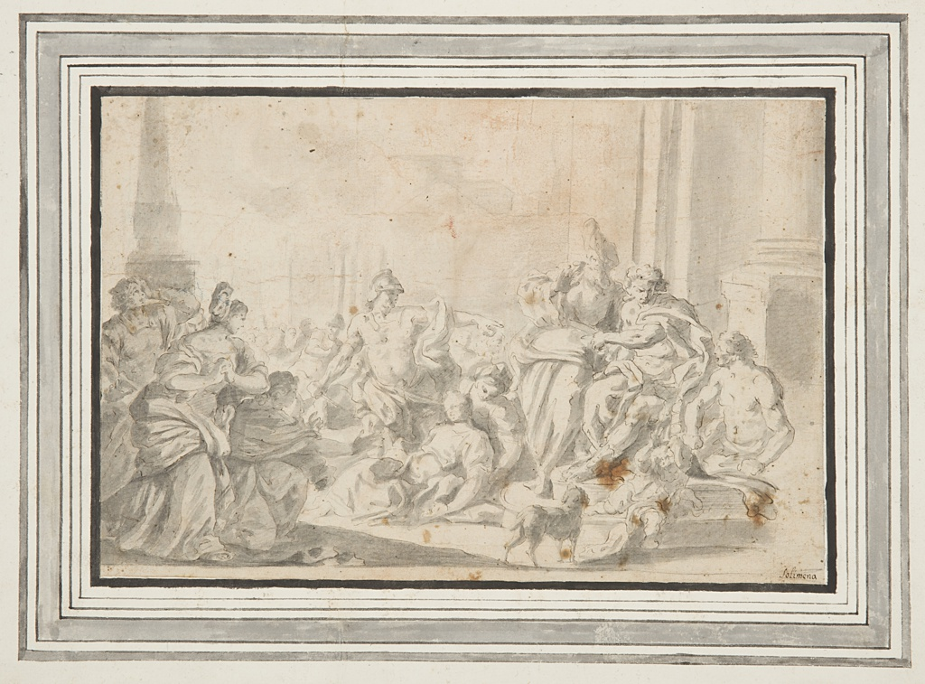 Figural scene. At right, the group of Appius and Marcus Claudius.  In the center, Virginia dying at the feet of her father.  In the fore-and- background at left, excited people and soldiers.