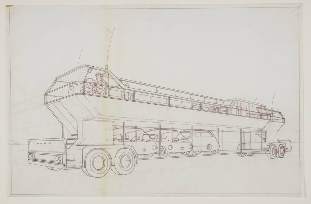 Drawing, Design for Double-decker Bus, Hub Cities System