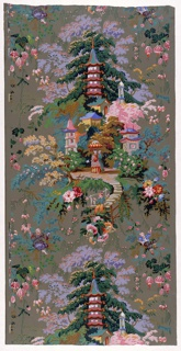 Group of pagodas and other architecture with a minaret, in setting of trees; Chinese lady and servant with parasol, beyond small bridge on which sits Chinese boy. Space about this medallion is filled with festooned and scattered flowers, and small boy. Printed in twenty-two colors on brown ground. Vertical rectangle, a full width, giving one and a half repeats.