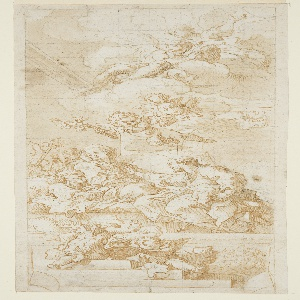 Drawing, Death of St. Joseph, study for a ceiling painting, ca. 1670–1747