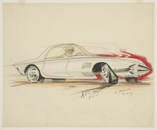 Drawing, Concept Car with Pointed Bullet Front