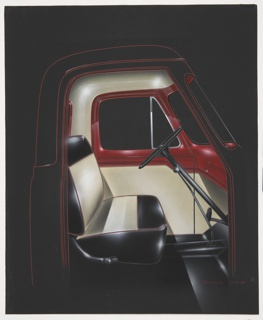 On black ground, the interior cabin of a truck, the exterior realized in basic red lines; the interior featuring cream walls with red dashboard and red-trimmed windows, the shiny leather seat in striped cream and black, with a black steering wheel, clutch, and stick shift.