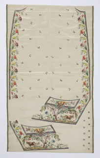 Panel of uncut embroidered waistcoat fronts with shaped pocket flaps and button covers, embroidered in twenty colors of silk floss on ivory silk satin ground. Overall small floral sprig, floral borders down center front, basked of fruits on pocket flaps, and at the lower edges a design of a cow and oxen under a tree.