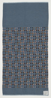 Blue chambray ground embroidered with a grid of circles; the interstitial spaces are embroidered in navy, brown, tan, and pink, while the circles are the exposed chambray.