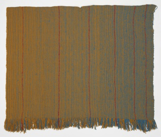 Handwoven fringed rug or length with vertical stripes in dark yellow, blue and red.