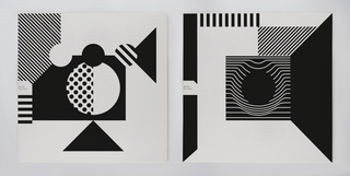 On this unfolded album cover, thick horizontal and diagonal lines in black, red, and green correspond with an underlying grid of dots.